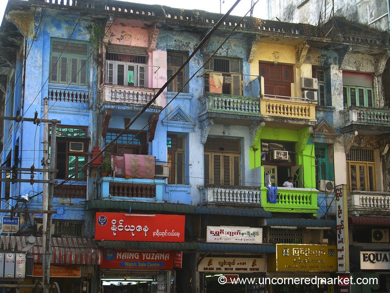 Colorful Buildings - Rangoon, Burma (Yangon, Myanmar)