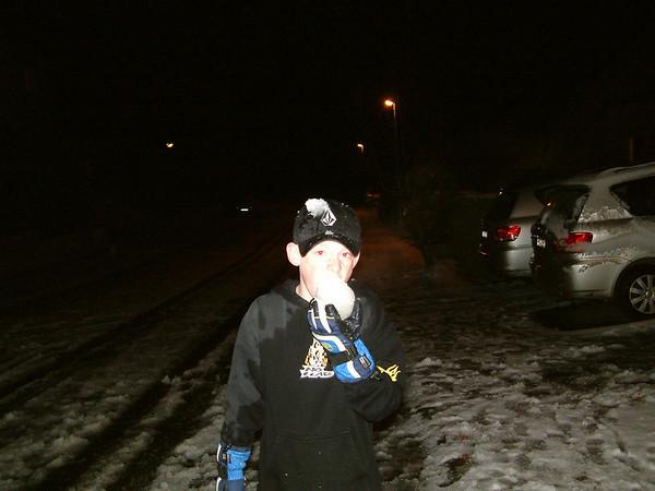 2003 01 28 Jack eats ribs and Snow Fall