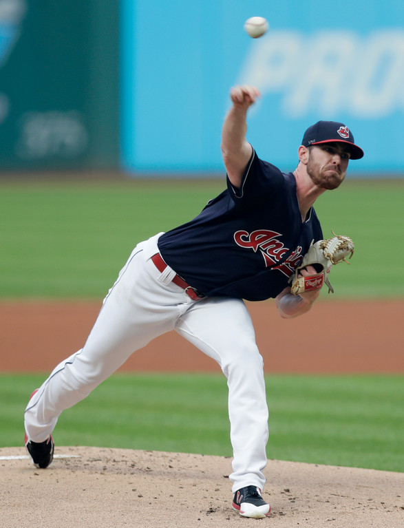 . Cleveland Indians starting pitcher Shane Bieber delivers in the first inning of a baseball game against the Tampa Bay Rays, Saturday, Sept. 1, 2018, in Cleveland. (AP Photo/Tony Dejak)