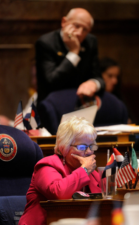 . DENVER, CO. - MARCH 8: Senator Rollie Heath (D-Boulder), and Senator Lois Tochtrop (D-Thornton) listened to Republicans oppose House Bill 1224 that would limit ammunition magazines to 15 rounds. The Colorado Senate continued to debate various gun control measures Friday night, March 8, 2013. (Photo By Karl Gehring/The Denver Post)