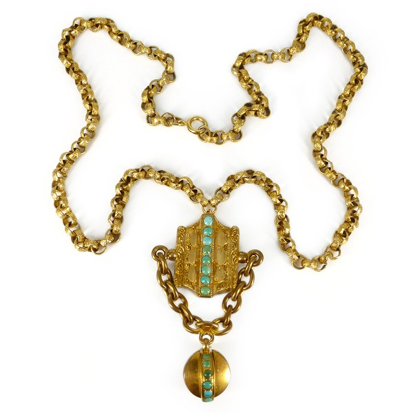 Antique Victorian Pinchbeck Gold Metal Turquoise Floral Necklace