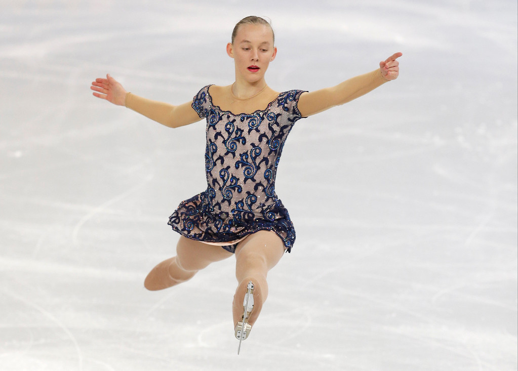 . Elizaveta Ukolova of the Czech Republic competes in the women\'s free skate figure skating finals at the Iceberg Skating Palace during the 2014 Winter Olympics, Thursday, Feb. 20, 2014, in Sochi, Russia. (AP Photo/Darron Cummings)