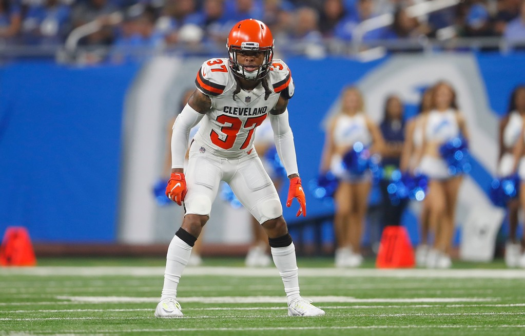. Cleveland Browns defensive back Denzel Rice waits on the play during the first half of an NFL football preseason game against the Detroit Lions, Thursday, Aug. 30, 2018, in Detroit. (AP Photo/Paul Sancya)