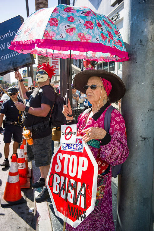 . More than 200 protestors gathered along Hollywood blvd to protest the possible US involvement in Syria Sunday, September 8, 2013.  The protest brought out police in riot gear to try and contain the protest to the sidewalks.    ( Photo by David Crane/Los Angeles Daily News )