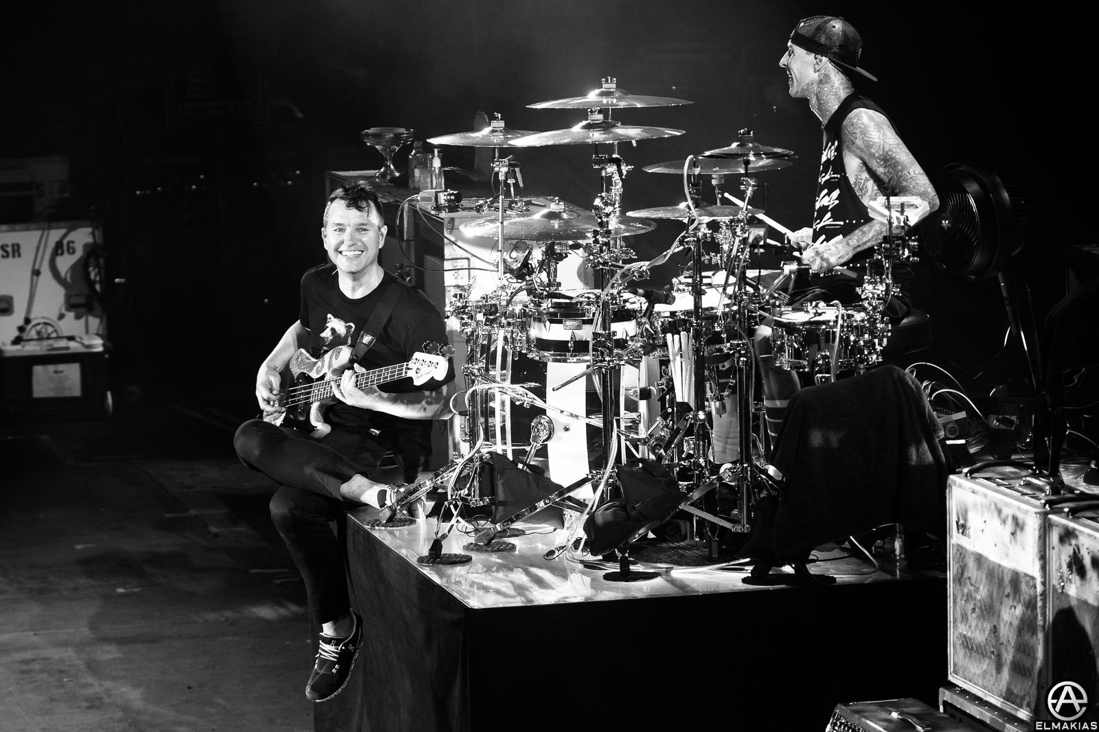 Mark Hoppus and Travis Barker of Blink-182 at Leeds Festival
