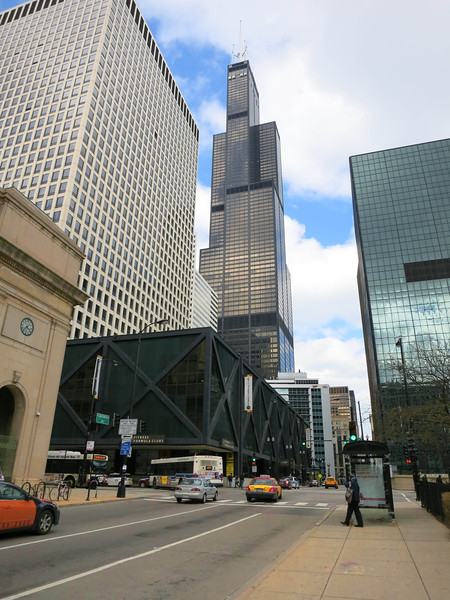 1-Corner of Union Station (left). Looking east on Jackson Blvd across Canal three blocks toward the Willis Tower (formerly Sears Tower).