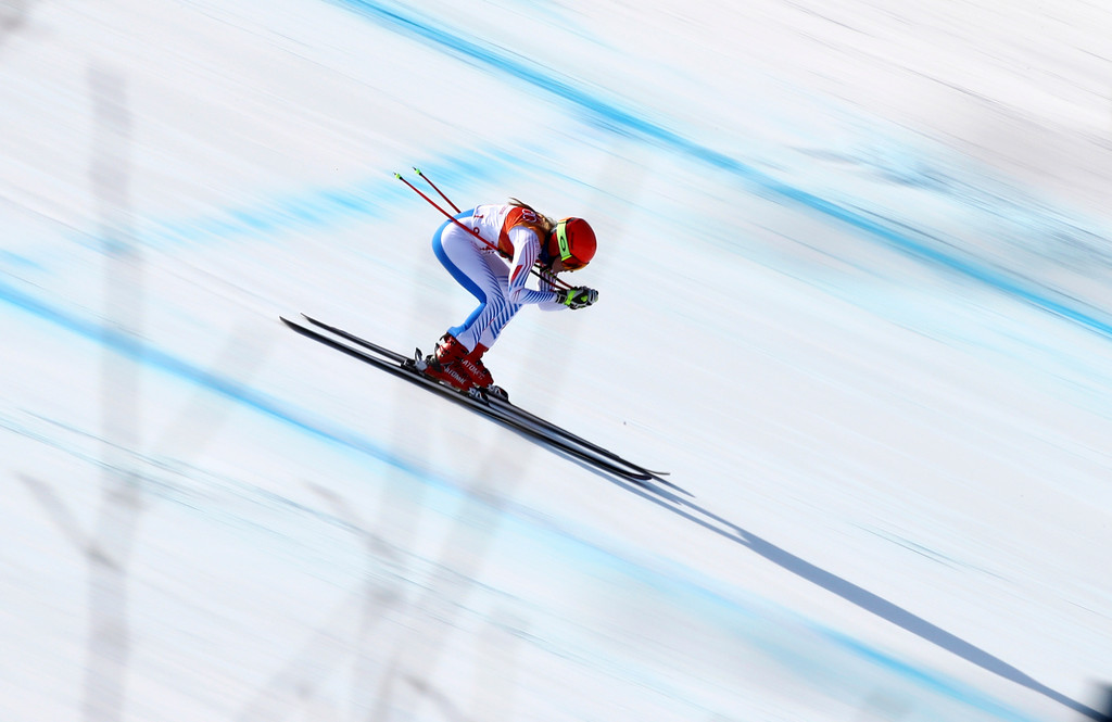 . United States\' Mikaela Shiffrin competes in the women\'s combined downhill at the 2018 Winter Olympics in Jeongseon, South Korea, Thursday, Feb. 22, 2018. (AP Photo/Alessandro Trovati)