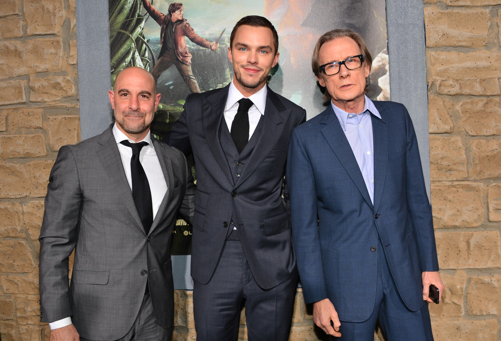 """. Actors Stanley Tucci, Nicholas Hoult, and Bill Nighy attend the premiere of New Line Cinema\'s \""""Jack The Giant Slayer\"""" at TCL Chinese Theatre on February 26, 2013 in Hollywood, California.  (Photo by Alberto E. Rodriguez/Getty Images)"""