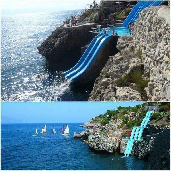 Hotel Citta Del Mare Overlooking the Gulf of Castellammare in Terrasini Palermo, Sicily•Sicilia - ITALIA•Italy.   http://thatslikewhoa.com/extreme-water-slide-into-the-ocean  https://facebook.com/pages/Hotel-Villaggio-Citta-del-mare-Terrasini/223918777635290  http://youtu.be/6bYXXXnvAGI