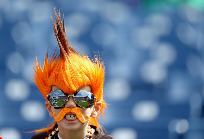 . A Cleveland Browns fan watches the action before the game against the Tennessee Titans at LP Field on October 5, 2014 in Nashville, Tennessee.  (Photo by Andy Lyons/Getty Images)