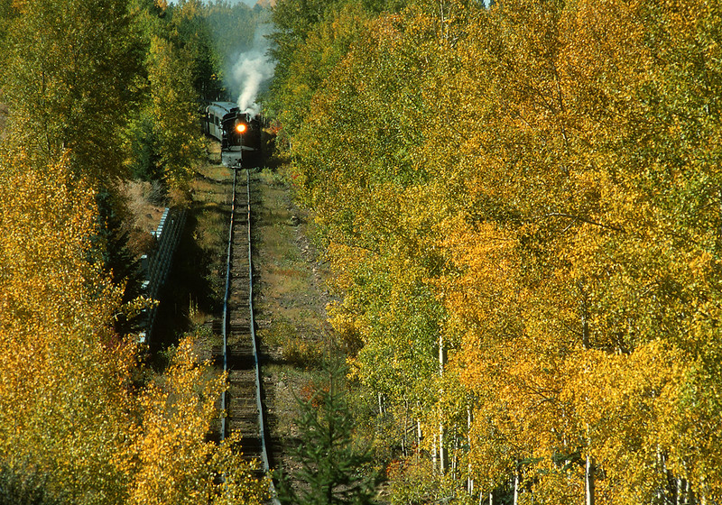October 2000.  One of the great things about spending time around Chama is I could enjoy fall color a day at a time, looking for the best color as the the trees changed at the various elevations and microclimates.