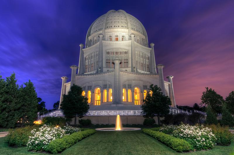 """Past Blue Hour"" Wilmette, Illinois Baha'i Temple"