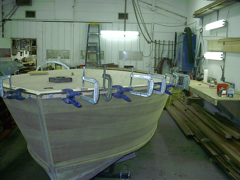 Front port view of gunnel glued in place.