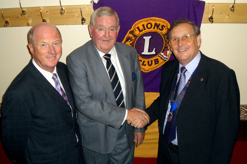 President of the Isle of Axholme Lions Colin Ridley, right, welcomes the guest speakers, Fred Eyre and Mike Cowan to the inaugural Isle Lions Sportsmans Dinner, held in th eHaxey Memorial Hall.