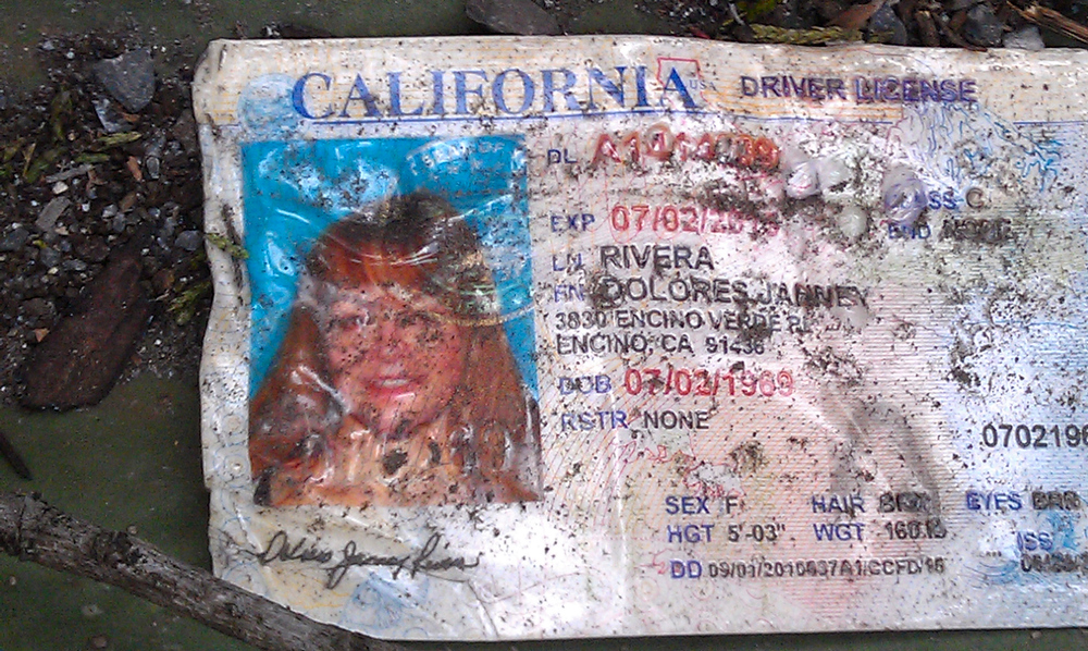 . Jenni Rivera\'s driving license is seen of the ground at the  crash site where a plane allegedly carrying Rivera crashed near Iturbide, Mexico Sunday Dec. 12, 2012. The wreckage of a the small plane believed to be carrying Jenni Rivera, the U.S-born singer whose soulful voice and unfettered discussion of a series of personal travails made her a Mexican-American superstar, was found in northern Mexico on Sunday. Authorities said there were no survivors. (AP Photo)