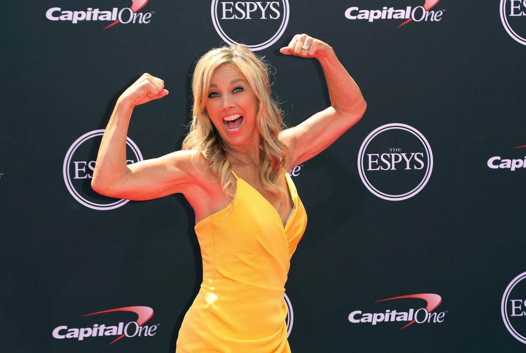 . Denise Austin arrives at the ESPY Awards at Microsoft Theater on Wednesday, July 18, 2018, in Los Angeles. (Photo by Willy Sanjuan/Invision/AP)