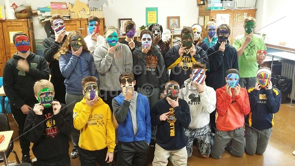 8th grade mask making and reveal . 5.2-5.3