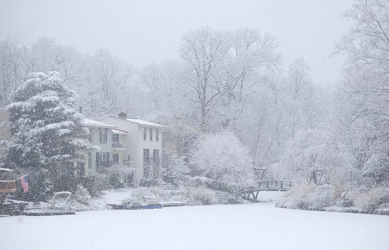 Snowfall over Lake Anne