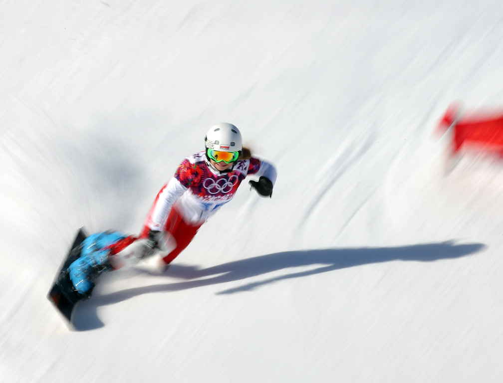 . SOCHI, RUSSIA - FEBRUARY 22: Karolina Sztokfisz of Poland competes during the Women\'s Parralel Slalom Qualification on day 15 of the Sochi 2014 Winter Olympics at Rosa Khutor Extreme Park on February 22, 2014 in Sochi, Russia.  (Photo by Robert Cianflone/Getty Images)