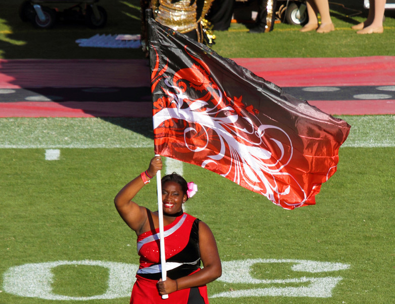 Cheerleader flag on the 50-yard line