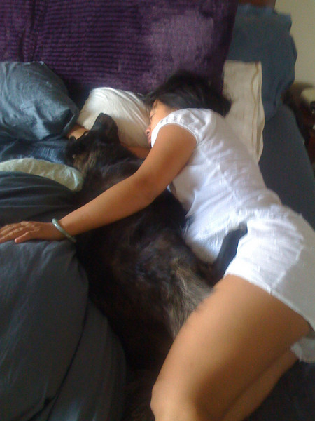 """When I got out of the shower this morning.. This is how the Wife and dog were sleeping... Pretty good definition of the word """"cute"""" eh?"""""""