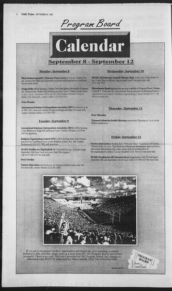 Daily Trojan, Vol. 132, No. 7, September 08, 1997
