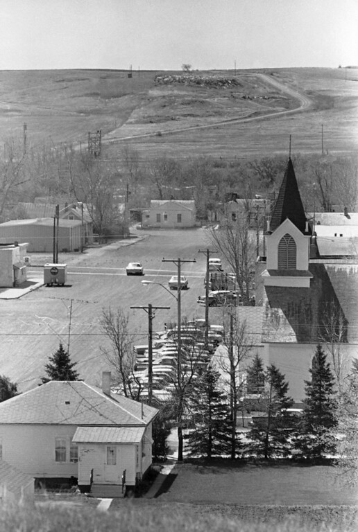 . 1969: The Middle Americans, also refered to as the silent majority. The town of Zap, N.D., set in a valley in the Great Plains country, was quiet with only a few cars in town for church service Sunday, May 12, 1969. National Guardsmen and highway patrol officer were called in to clear the town of about 2,000 young people Saturday after a Friday night �Zap-in� by college-age students turned into disorder. Buildings were wrecked and fire was set in the main street where only a few cars were to be found on Sunday. (AP Photo/RW)