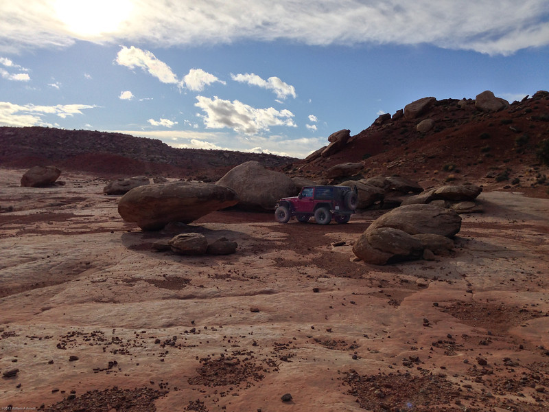 Our first taste of Moab slickrock approaching Hidden Canyon Overlook(same shot as Wells pg46)