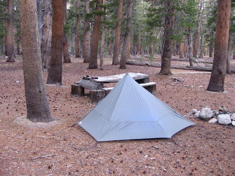 My Lunar Solo E in camp the next AM, with packer table just beyond. A pleasant and well-sheltered campsite.
