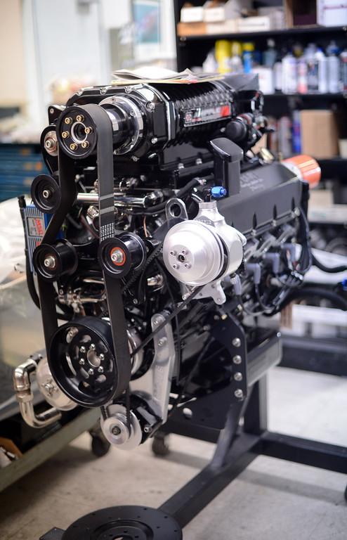 . A Teague high performance motor at Teague Custom Marine in Valencia Tuesday, June 25, 2013. (Hans Gutknecht/Los Angeles Daily News)