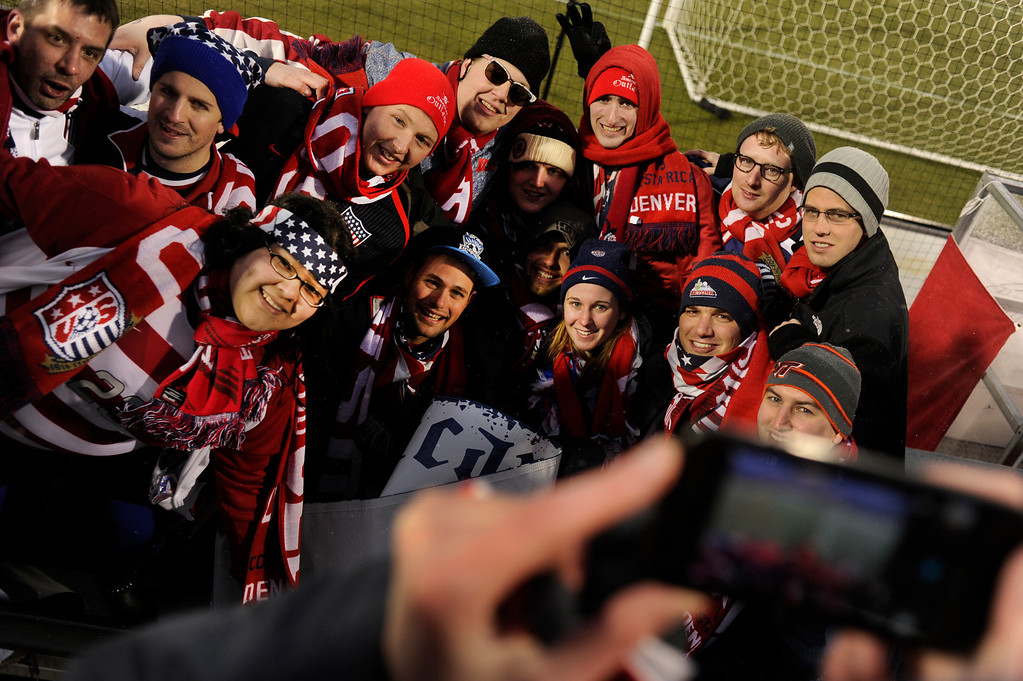 . COMMERCE CITY, CO. - MARCH 22: Soccer fans posed for a photograph before the game Friday night. The U.S. Men\'s National Soccer Team hosted Costa Rica Friday night, March 22, 2013 in a FIFA World Cup qualifier at Dick\'s Sporting Goods Park in Commerce City.  (Photo By Karl Gehring/The Denver Post)