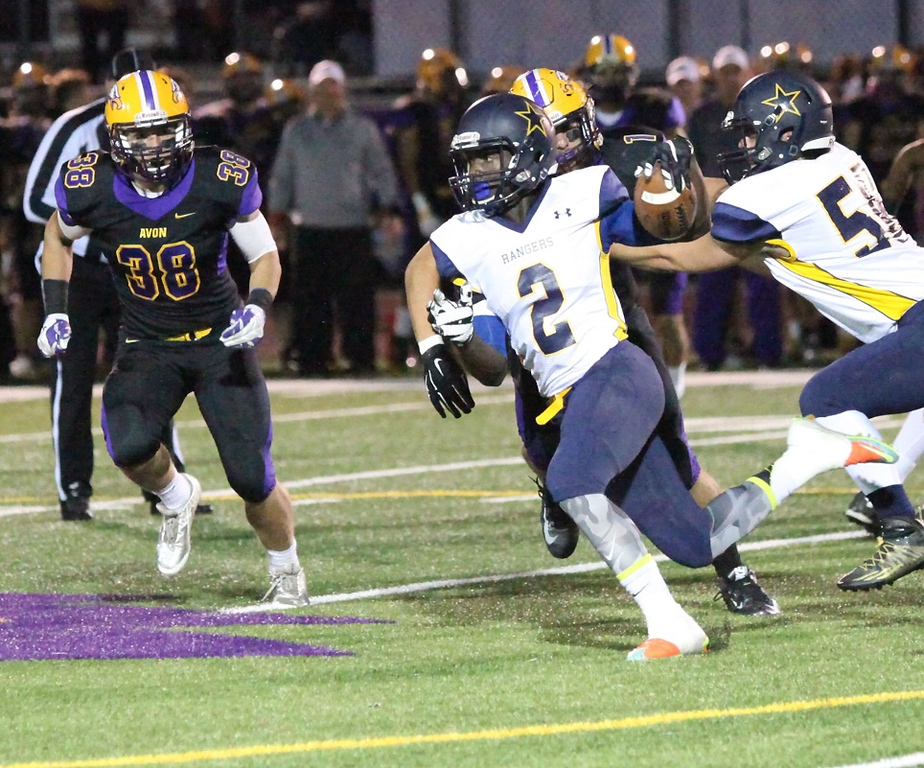 . North Ridgeville\'s Demario McCall (2) turns the corner for a run against Avon during the second quarter at Joe Firment Stadium in Avon on Oct. 9, 2015. Avon\'s field is turf. (Randy Meyers, The Morning Journal))