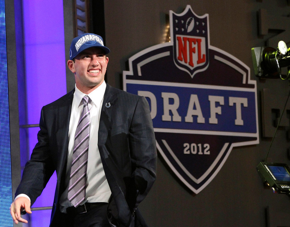 . Andrew Luck, Stanford Selected first overall by the Colts in 2012 Luck, the face of what may wind up being one of the best quarterback draft classes of all-time, lived up to expectations his first season in Indianapolis. He led the Colts from a two-win season in 2011 to an 11-5 record and a playoff berth in 2012. GRADE: A+. A nine-game turnaround his rookie season, and no reason to believe he�ll slow down. (AP Photo/Mary Altaffer)