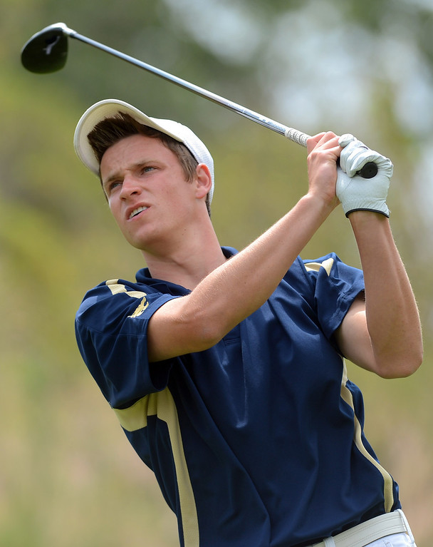 . West Ranch High School\'s Joey Downey hits a shot of the tee while competing in the final round of the Foothill League Newhall Cup golf tournament at TPC Valencia April 24, 2013.(Andy Holzman/Staff Photographer)