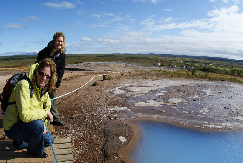 Here are the Attache and Jenni at our second stop: Geysir, which is the oldest known geyser.  If you'd believe this, the english word geyser is derived from geysir.