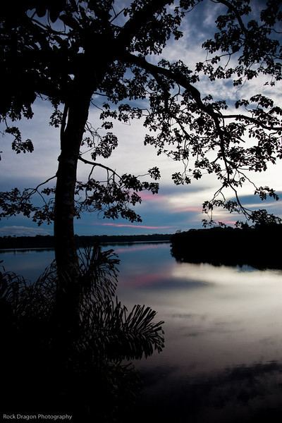 Sunset on Lake Sandoval, Peru.