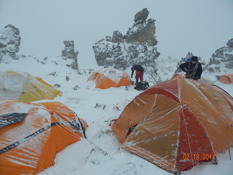 Arriving to our tents after a 13 hour summit day.