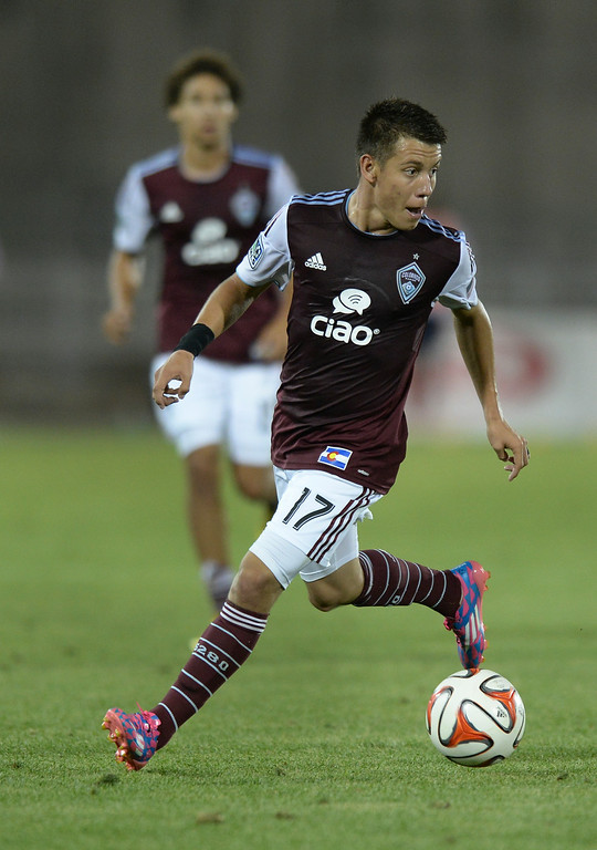 . Colorado midfielder Dillon Serna (17) made a run in the second half. The Colorado Rapids defeated Chivas USA 3-0 at Dick\'s Sporting Goods Park Friday night, July 25, 2014. Photo by Karl Gehring/The Denver Post