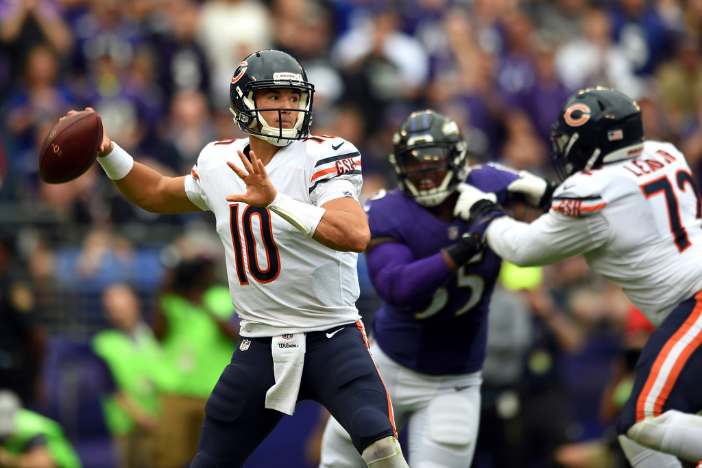 . Chicago Bears quarterback Mitchell Trubisky (10) throws to a receiver in the first half of an NFL football game against the Baltimore Ravens, Sunday, Oct. 15, 2017, in Baltimore. (AP Photo/Gail Burton)