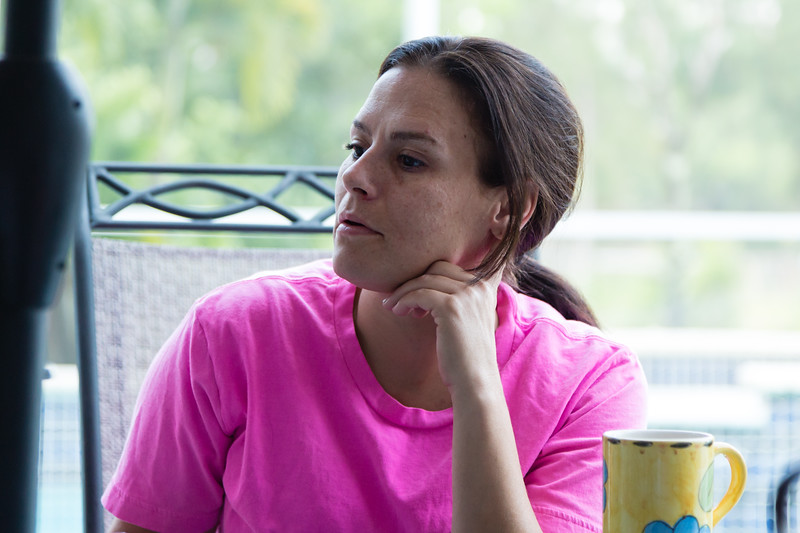 Amy Kilgore, 37,  of Philadelphia, Pennsylvania, listens to the  morning meditation passage in the All About Recovery younger womens sober home in Loxahatchee, Florida on Wednesday, May 10, 2016.  Kilgore is a recovering heroin addict and has been a resident in the younger women's sober home since March 2016. (Joseph Forzano / The Palm Beach Post)
