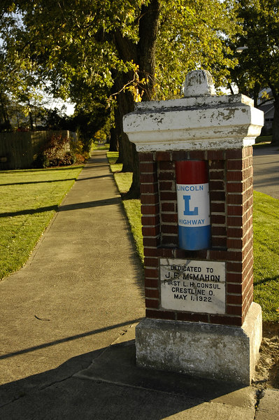 Lincoln Highway markers on Main Street in Crestline, Ohio