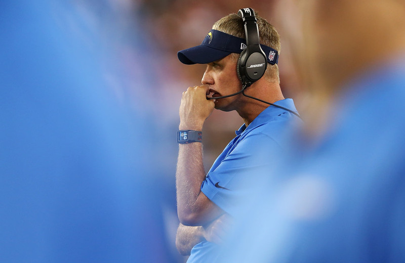 . Head coach Mike McCoy of the San Diego Chargers watches on during the NFL game against the Arizona Cardinals at the University of Phoenix Stadium on September 8, 2014 in Glendale, Arizona.  (Photo by Christian Petersen/Getty Images)
