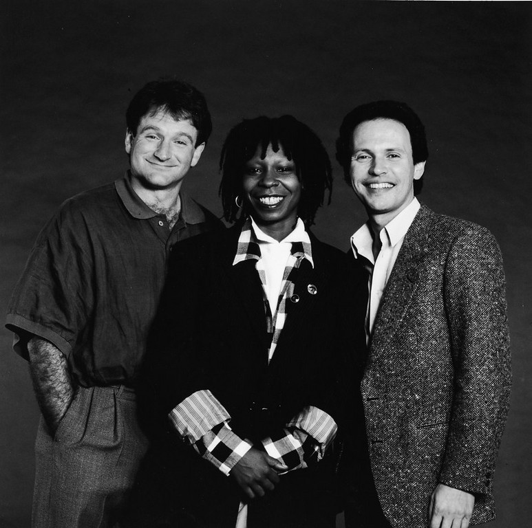 . Promotional studio portrait of American comedians and Robin Williams, Whoopi Goldberg and Billy Crystal, the hosts of the \'Comedy Relief\' variety benefit special, 1986.  (Photo by HBO/Getty Images)