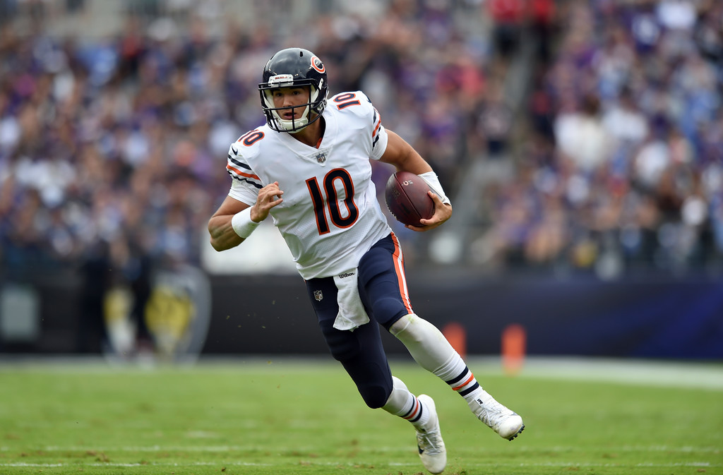 . Chicago Bears quarterback Mitchell Trubisky rushes the ball in the first half of an NFL football game against the Baltimore Ravens, Sunday, Oct. 15, 2017, in Baltimore. (AP Photo/Gail Burton)