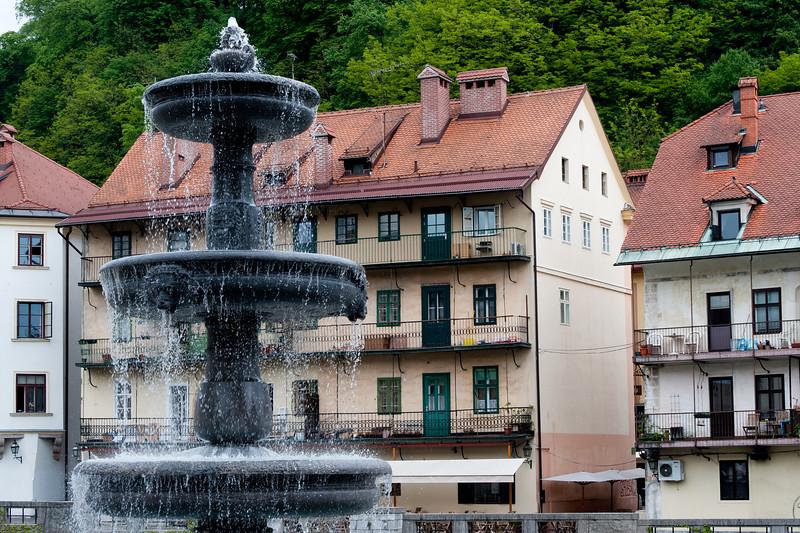 Zlata ladjica fountain in Ljubljana, Slovenia