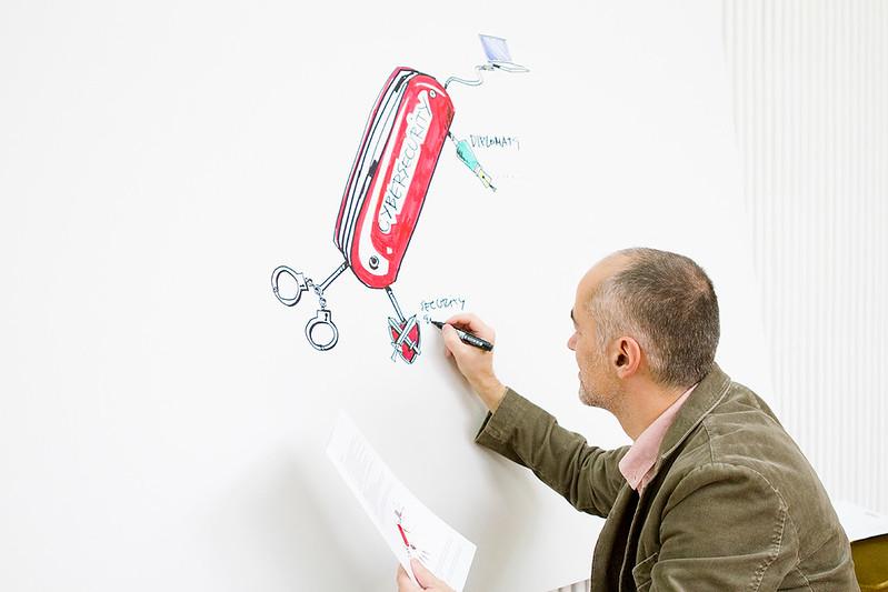 Diplo's illustrator Vladimir Veljasevic working on the Cybersecurity Toolbox (Swiss knife)