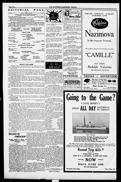 The Southern California Trojan, Vol. 13, No. 15, October 29, 1921