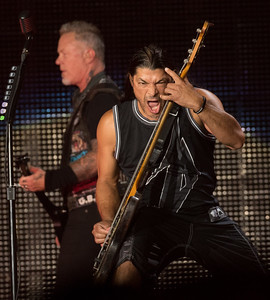 Robert Trujillo and his thundering bass guitar performed, headlining the second concert in US Bank Stadium on August 20, 2016 in Minneapolis, Minn. [ Special to Star Tribune, photo by Matt Blewett, Matte B Photography, matt@mattebphoto.com, Metallica, Avenged Sevenfold, Volbeat