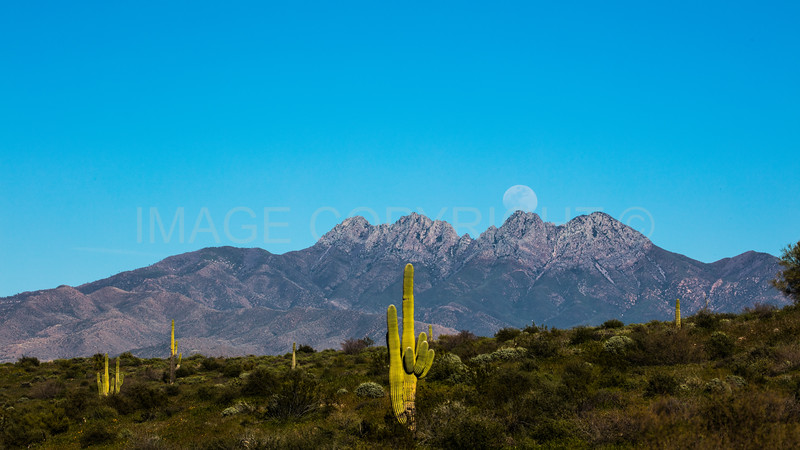 Moonrise over Four Peaks Mountain