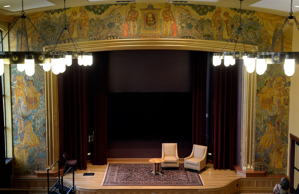 """. The newly restored  \""""Shakespeare Mural\"""" by John Thompson surrounds the stage in the Reiman Theater at the Daniels College of Business at the University of Denver campus on Wednesday April 23, 2014. The mural was painted in 1929.  (Denver Post Photo by Cyrus McCrimmon)"""